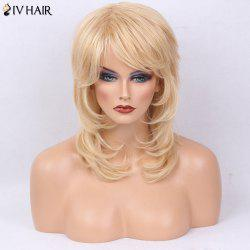 Siv Hair Medium Tail Adduction Side Bang Layered Slightly Curly Human Hair Wig