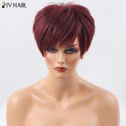 Siv Hair Short Side Bang Layered Shaggy Straight Human Hair Wig - WINE RED
