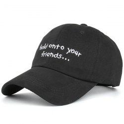 Summer Sunproof Letters Embroidered Baseball Hat - FULL BLACK