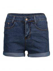 Cuffed High Waisted Denim Shorts - DEEP BLUE L