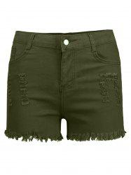 High Waisted Ripped Denim Shorts - ARMY GREEN S