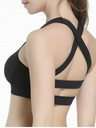 Criss Cross Sports Padded Bra - BLACK