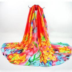 Floral Printed Fancy Imitation Silk Fabric Scarf