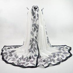 Imitation Silk Fabric Leaf Printing Smooth Scarf - WHITE