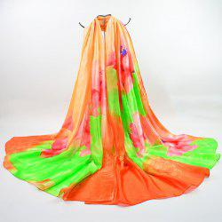 Flowers Printing Multicolor Imitation Silk Shawl Scarf
