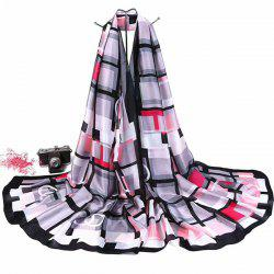 Smooth Imitation Silk Checked Shawl Scarf