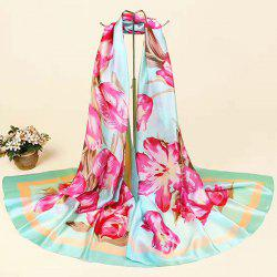 Flowers Printing Smooth Imitation Silk Fabric Scarf