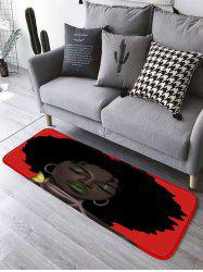 Afro Hair Lady Flannel Bathroom Rug