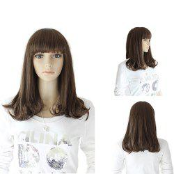 Neat Bang Medium Slightly Curly Synthetic Wig