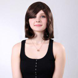 Inclined Bang Short Natural Tail Adduction Straight Synthetic Wig