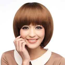 Neat Bang Silky Straight Short Bob Synthetic Wig - LIGHT COFFEE
