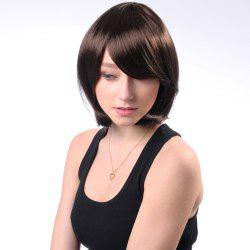 Neat Bang Short Silky Straight Bob Synthetic Wig - COFFEE