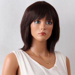 Layered Medium Neat Bang Natural Straight Synthetic Wig - MAROON