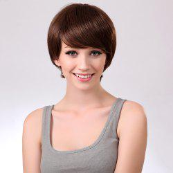 Side Bang Glossy Straight Short Synthetic Wig - BROWN