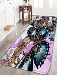 Butterfly Flower Print Flannel Skid Resistant Bathroom Rug