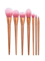 7Pcs Cone Shaped Nylon Mini Makeup Brushes Set - ROSE GOLD