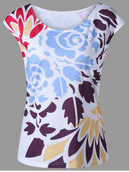 Casual Cap Sleeve Floral T-Shirt