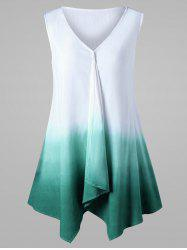 Ombre Sleeveless Tunic Top - WHITE AND GREEN