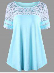 Floral Lace Panel T-shirt - BLUE