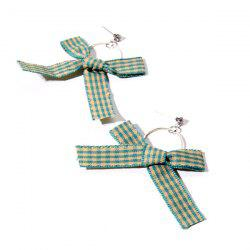 Plaid Fabric Rhinestone Bow Circle Earrings