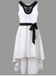 Chiffon Applique High Low Dress - OFF-WHITE