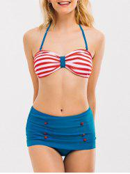 Striped High Waisted Halter Bandeau Bikini Set