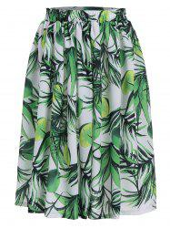 Lemon Leaf Print Elastic Waist Flared Skirt - GREEN XL