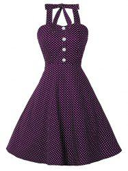Polka Dot Halter Pin Up Dress - PURPLISH RED