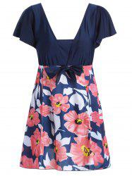 Plus Size High Waisted Floral Skirted Swimsuit