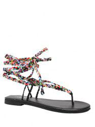 Multicolor Weave Tie Up Sandals
