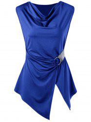 Sleeveless Asymmetric Cowl Neck T-shirt - BLUE