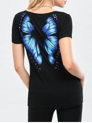 Butterfly Printed Short Sleeve Tee - BLACK M