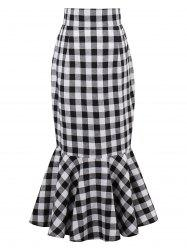 High Waist Tartan Mermaid Skirt - BLACK WHITE