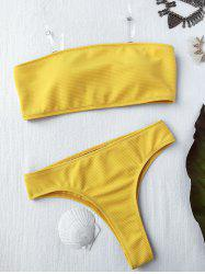 Rib Texture High Leg Bandeau Bikini Set - YELLOW