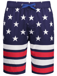 Star and Stripe Print Drawstring Board Shorts