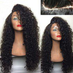 Long Deep Side Part Shaggy Kinky Curly Synthetic Wig - BLACK