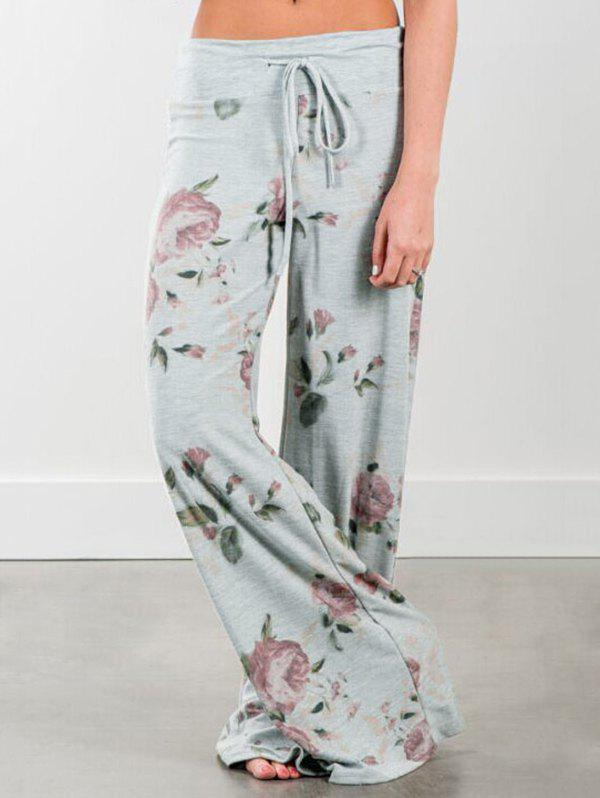 Drawstring Floral Print Wide Leg PantsWOMEN<br><br>Size: XL; Color: GRAY; Style: Fashion; Length: Normal; Material: Polyester; Fit Type: Loose; Waist Type: Mid; Closure Type: Drawstring; Pattern Type: Floral; Pant Style: Wide Leg Pants; Weight: 0.2500kg; Package Contents: 1 x Pants;