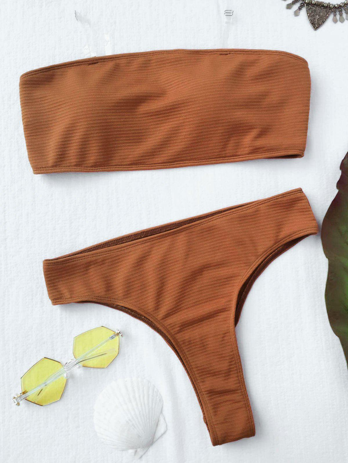 Rib Texture High Leg Bandeau Bikini SetWOMEN<br><br>Size: S; Color: BROWN; Swimwear Type: Bikini; Gender: For Women; Material: Cotton,Polyester,Spandex; Bra Style: Padded; Support Type: Wire Free; Neckline: Bandeau Collar; Pattern Type: Solid; Waist: Natural; Elasticity: Elastic; Weight: 0.2000kg; Package Contents: 1 x Top  1 x Bottoms;