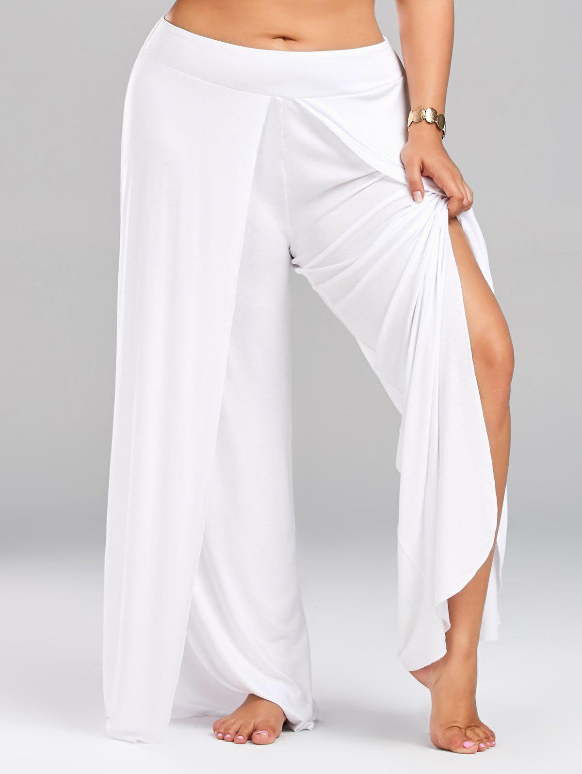 High Split Plus Size Palazzo PantsWOMEN<br><br>Size: 4XL; Color: WHITE; Style: Casual; Length: Normal; Material: Polyester; Fit Type: Loose; Waist Type: Mid; Closure Type: Elastic Waist; Front Style: Flat; Pattern Type: Solid; Pant Style: Wide Leg Pants; With Belt: No; Weight: 0.5600kg; Package Contents: 1 x Pants;