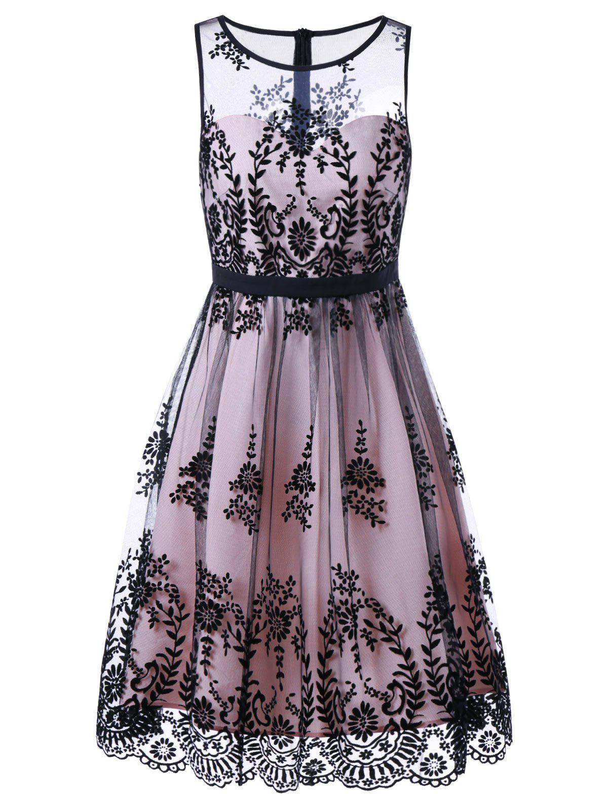 Discount Mesh Floral Print Cocktail Prom Dress