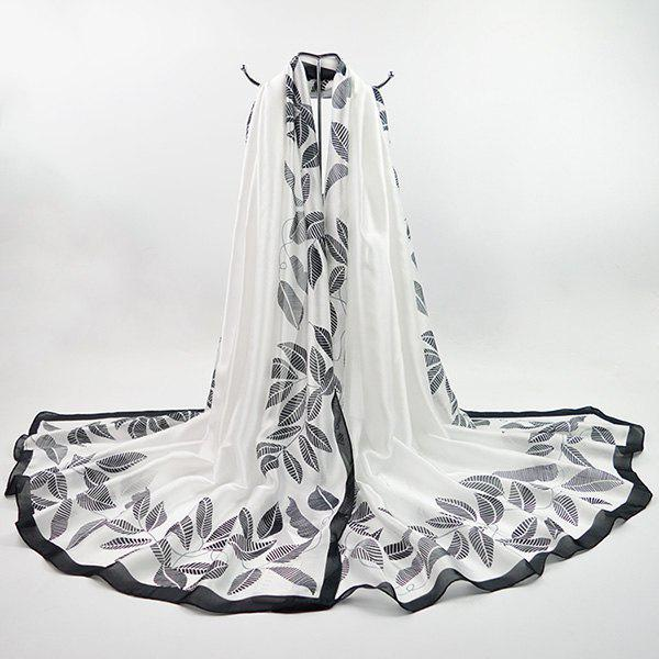 Imitation Silk Fabric Leaf Printing Smooth ScarfACCESSORIES<br><br>Color: WHITE; Scarf Type: Scarf; Group: Adult; Gender: For Women; Style: Fashion; Pattern Type: Print; Season: Fall,Spring,Summer,Winter; Scarf Length: 195CM; Scarf Width (CM): 100CM; Weight: 0.0100kg; Package Contents: 1 x Scarf;