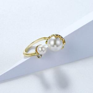 Gold Plated Faux Pearl Rhinestone Cuff Ring - GOLDEN