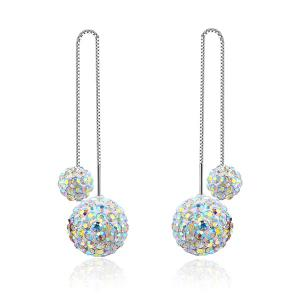 Double Rhinestoned Balls Chain Embellished Drop Earrings
