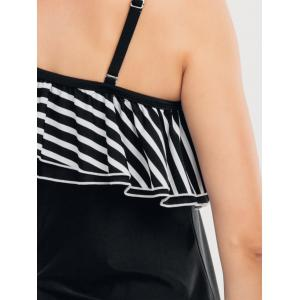 One Shoulder Ruffle Skirted Tankini Set -