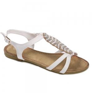 Flat Heel Beaded Leaf Snadals - White - 38