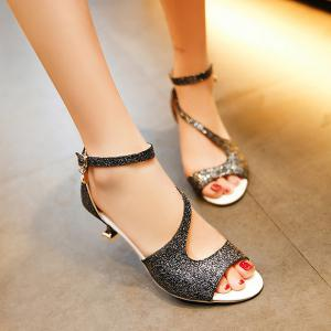 Glitter Sequin Peep Toe Sandals - Black - 38