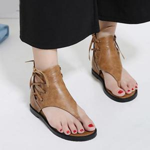Lace Up Wedge Heel Zipper Sandals