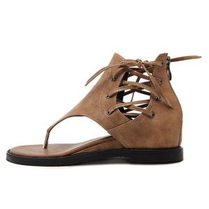 Lace Up Wedge Heel Zipper Sandals - BROWN 38