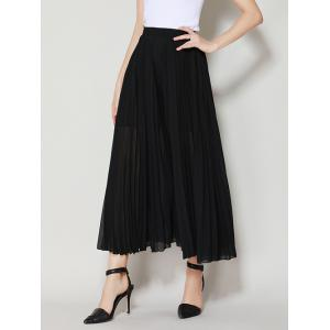 High Waist Chiffon Flowy Wide Leg Pants - BLACK ONE SIZE