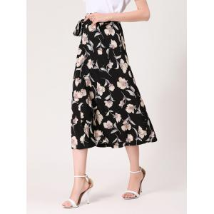 Flower Print Midi Wrap Skirt